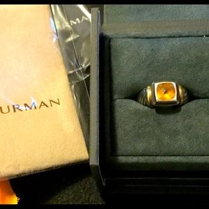 D.YURMAN CITRINE CABLE RING/925 14K STAMPED W/BOX